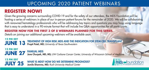 upcoming 2020 patient webinars
